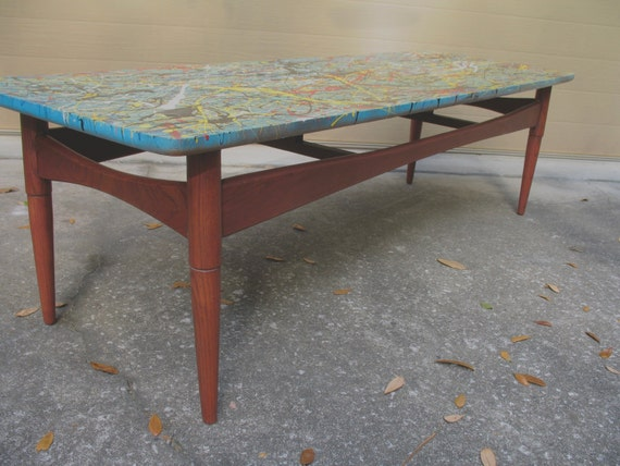 Wild Surfboard Coffee Table Mid Century Modern Coffee Table Hand