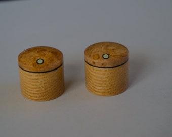 Maple Burl on Ash Set of 2 custom wood guitar knobs