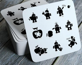Android/Apple - Funny Coasters Set of 4