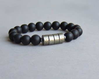 Black stone pyrite bracelet, Beaded gemstone bracelet, Men womens minimal elegant bracelet