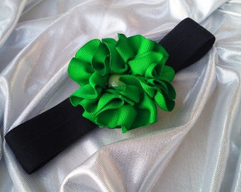 Girls Kelly Green Headband with Green Rhinestone