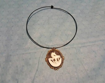 Unicorn cameo style necklace