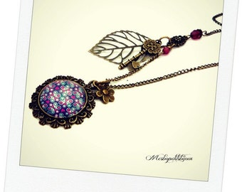 Necklace rose violet flower cabochon