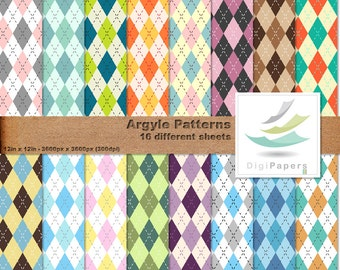 Argyle Patterns - Scrapbooking Digital paper Pack for personal and commercial use - Suitable for scrapbooking, cards and backgrounds