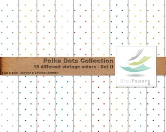 Vintage Color Polka Dots Over White Background - Scrapbooking Digital paper Pack for personal and commercial use