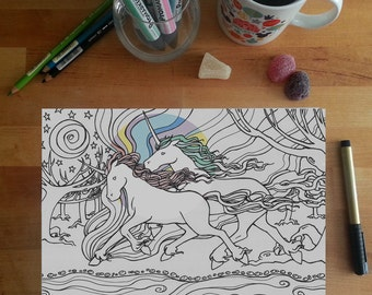 Unicorn Colouring Page, unicorn couple, unicorn illustration, fantasy colouring page, adult colouring page