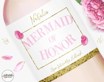 Mermaid of Honor Wine label, Champagne Label, Maid of Honor, Bridesmaids, Matron of Honor, Maid of Honor Gift, Bridesmaids Gift