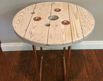 Spool end table with copper legs spool table copper legs end table