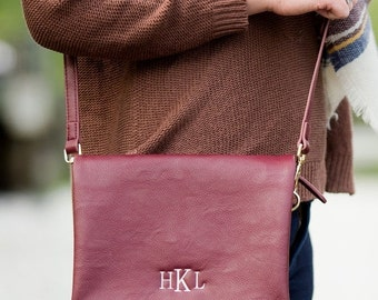24hrSALE Monogrammed Wine Palmer Crossbody - Gifts For Her Fall Accessories Fall Bags