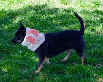 S: White Knitted Circle Scarf with Pink Bow, for Small Dogs