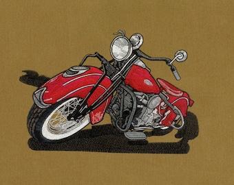 Fiery Red Bike's Digital Embroidery Design