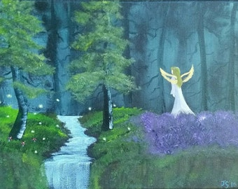 Beautiful original angel forest painting - As the Forest Sleeps