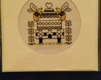 Blackwork bees card