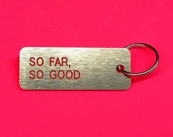 metal plate with carving letters keychain