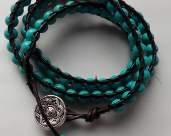 Handmade leather and turquoise bracelet