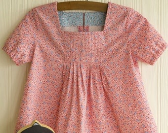 Girls' PINTUCK BLOUSE with Square Neckline