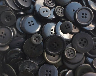 Mixed black buttons, assorted sizes FREE postage