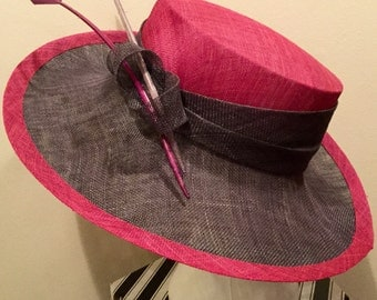 Pink and charcoal picture hats