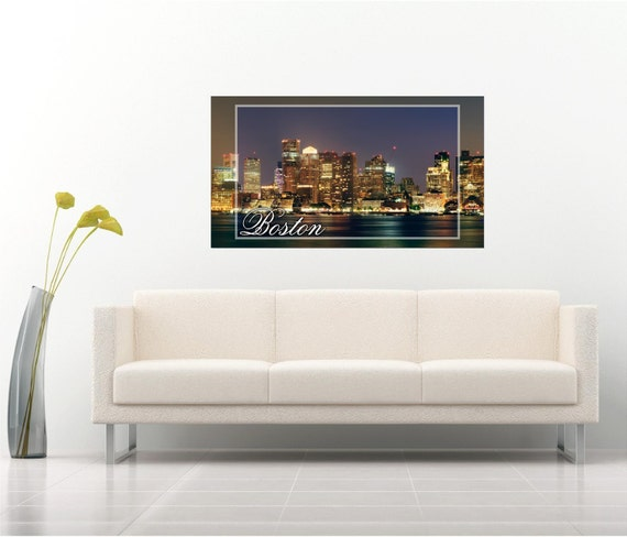 Boston city skyline two toned exposure mural by for Boston wall mural