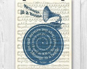 The Police Print, Message in a bottle, Song lyrics in spiral over sheet music reproduction, The Police tribute art, Wedding song, Music gift