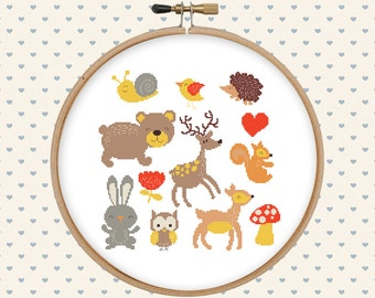 Animal cross stitch pattern pdf - cute forest animals - instant download - bear, deer, rabbit, owl, squirrel