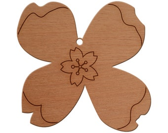 Flower 2 Wooden Christmas Ornament, Finished Wood Cut Out, Heirloom Ornament, Personalized Ornament