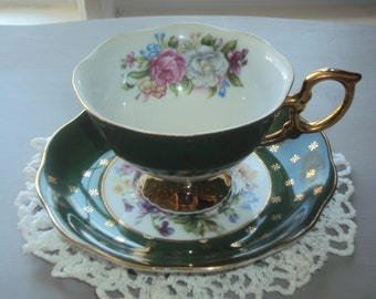 Vintage Hand Painted Japan Green Shafford Tea Cup and Saucer with Floral Roses