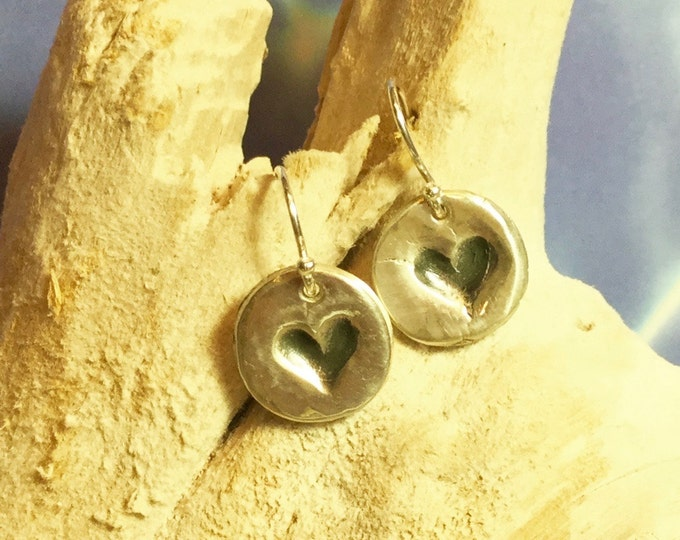 Sterling and Fine Silver Antiqued Heart Disk Earrings