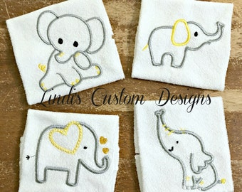 Elephant Baby Washcloth Set, Yellow and Gray Silver, Baby Shower Gift, Embroidered Washcloth Set, Unique Baby Gift, Elephant, Gender Neutral