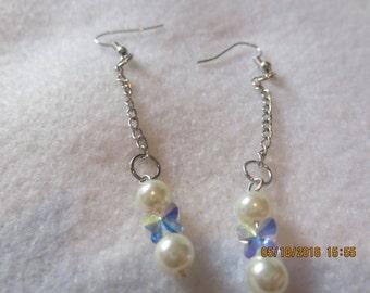 0051-Swarovski Crystal Butterfly & Pearl Earrings
