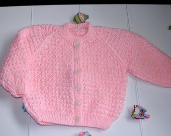 Pink Bella Baby Tizz Hand-knitted Cardigan