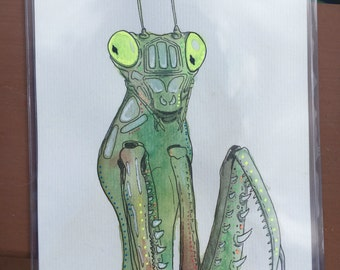 The Mantis - Original 5  x 7 Watercolor Painting