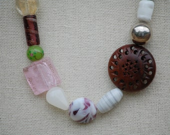 Asymetrical Boho Rosewood & Lampworked Glass Bead Necklace