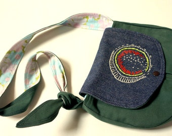 Pouch in jeans and khaki canvas with hand embroideries