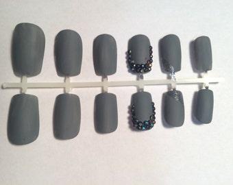 A set of handpainted false nails: matte grey nails with swarovski crystals/grey nails/matte nails/matte grey nails/simple nails/cute nails