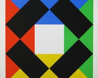 "Max Bill - ""Composition With White Centre""  Screenprint - 1972"