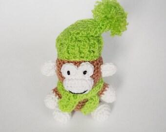 toy. amigurumi toy. monkey.green monkey. children's toy.trinket