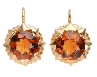Citrine Earrings Golden 18k Yellow Gold
