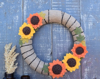 Burlap Wreath with Yellow and Orange Sunflowers