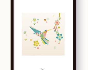 "Poster/Poster - original illustration ""Colibri"" of Japanese-inspired"