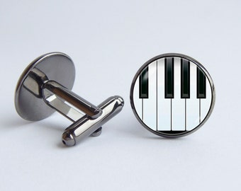 Piano cufflinks Piano keys Music cuff links Music jewelry Gift for musician Piano jewelry Musical instrument Anniversary gift Piano gifts