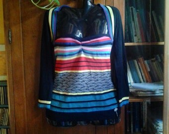 Jersey sweater sweatshirt Fornarina made in Italy-zipped multicolor Fornarina dress with square neckline