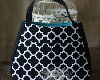Black and White Quatrefoil and Teal Swoon Ethel handbag Purse