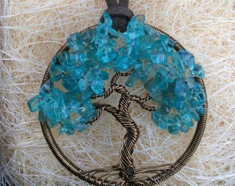 Teal Apatite Tree of Life pendant with bronze coloured wire necklace jewellerybynovita wire wrapped