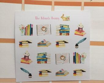 Decorative Watercolour Book Planner Stickers