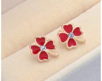 Red Clover Leaf Earrings