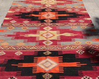 Large vintage turkish kilim rug - 11 x 5 ft