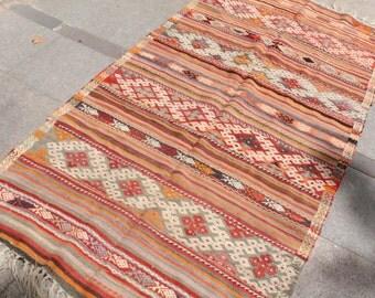 7 x 4 ft handwoven striped turkish  kilim rug