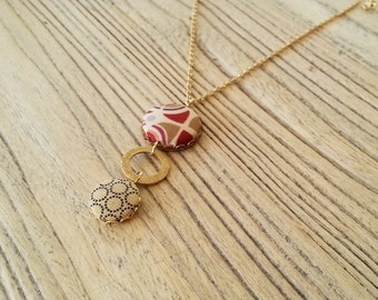 button necklace, fabric necklace, fabric and gold necklace,