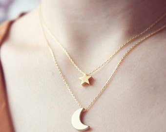 40% off of summer / / star and moon necklace necklace double - gold